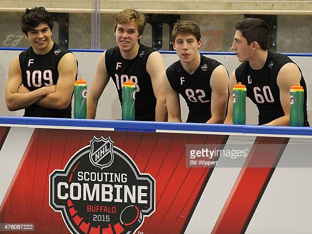Nicholas Merkley Connor McDavid Mitchell Marner and Zachary Werenski await their turns to perform tests during the NHL Combine at HarborCenter on...