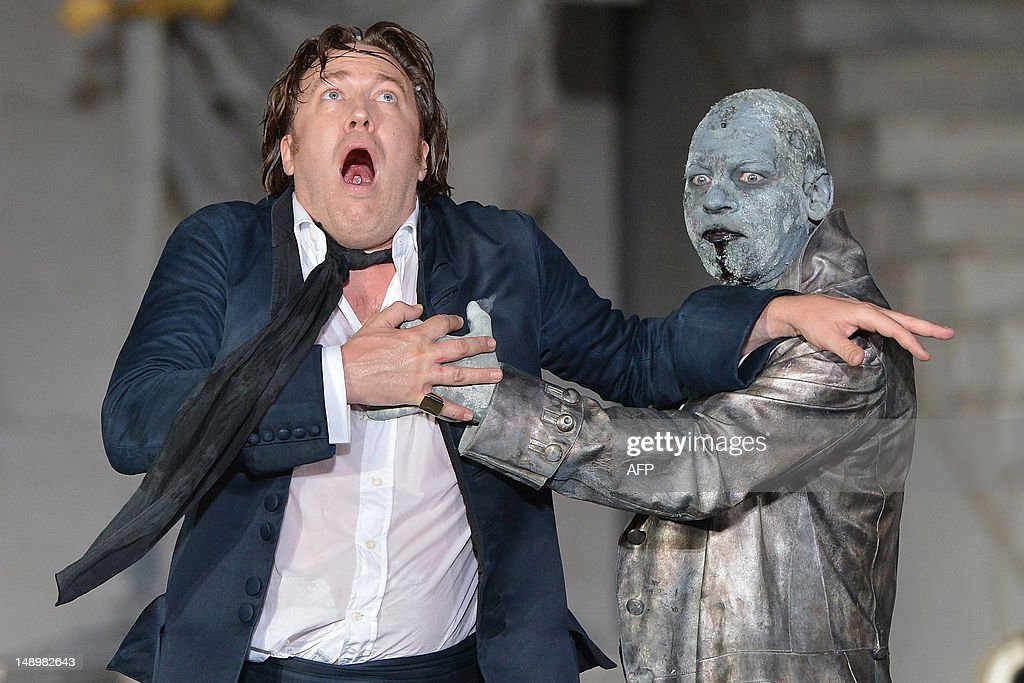 Nicholas Ofczarek (L) in the role of Jedermann and Ben Becker as Death perform during a rehearsal of 'Jedermann' (Everyman) on the Domplatz in Salzburg on July 19, 2012, ahead of the 2012 Salzburg Festival. A new chapter opens for The Salzburg Festival, the world-famous classical music, opera and drama extravaganza, when it kicks off on July 20 under homegrown new artistic director Alexander Pereira. The festival will run from July 20 till September 2, 2012. AFP PHOTO / ERNST WUKITS