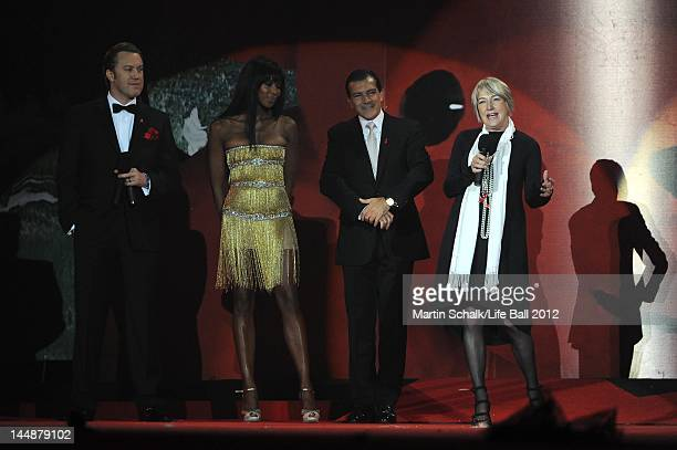 Nicholas Ofczarek Naomi Campbell Antonio Banderas and Jackie Branfield attend the Life Ball 2012 AIDS charity fundraiser at City Hall on May 19 2012...
