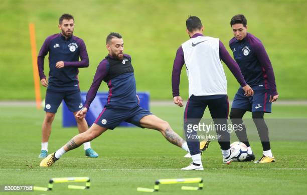 Nicholas Otamendi during Manchester City training at Etihad Campus on August 11 2017 in Manchester England