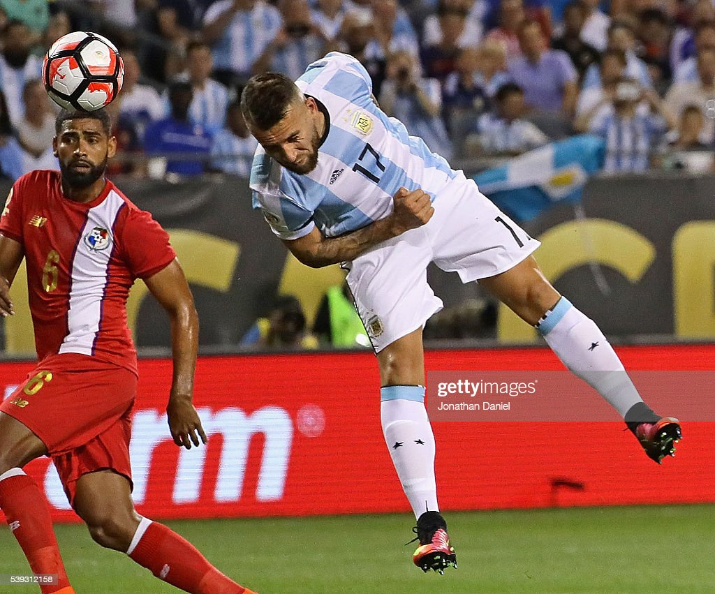 Nicholas Otamendi #17 of Argentina heads the ball past Gabriel Gomez #6 of Panama for a goal during a match in the 2016 Copa America Centenario at Soldier Field on June 10, 2016 in Chicago, Illinois.
