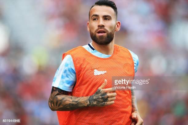 Nicholas Otamendi of Manchester City warms up during the preseason friendly match between Girona and Manchester City at Municipal de Montilivi...