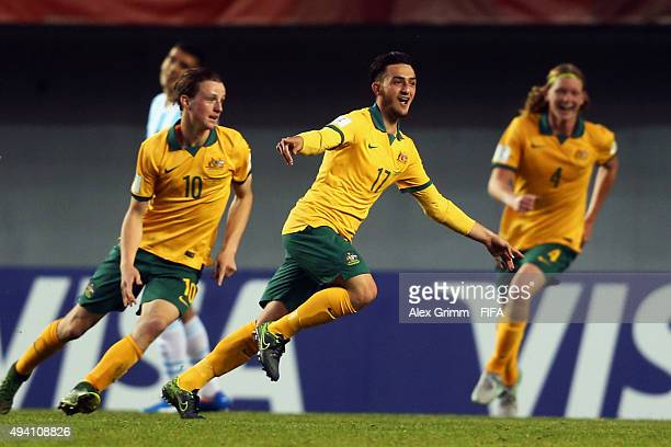 Nicholas Panetta of Australia celebrates his team's second goal during the FIFA U17 World Cup Chile 2015 Group C match between Argentina and...