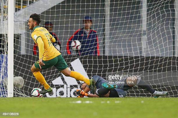 Nicholas Panetta of Australia scores his team's first goal during the FIFA U17 World Cup Chile 2015 Group C match between Argentina and Australia at...