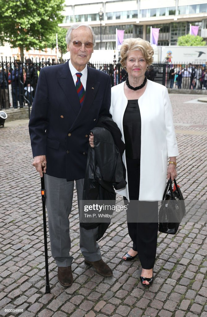 Nicholas Parsons and Ann Reynolds attend a memorial service for comedian Ronnie Corbett at Westminster Abbey on June 7, 2017 in London, England. Corbett died in March 2016 at the age of 85.