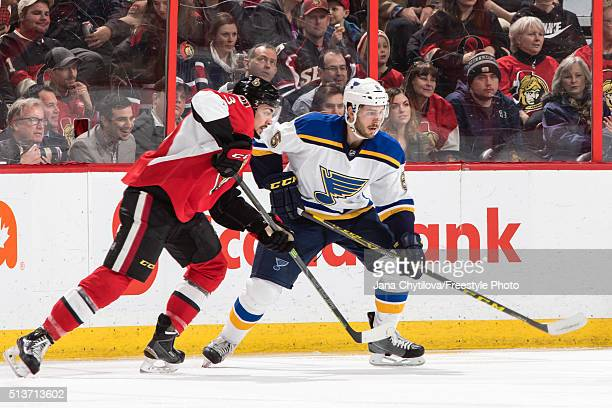 Nicholas Paul of the Ottawa Senators skates against Joel Edmundson of the St Louis Blues during an NHL game at Canadian Tire Centre on March 1 2016...