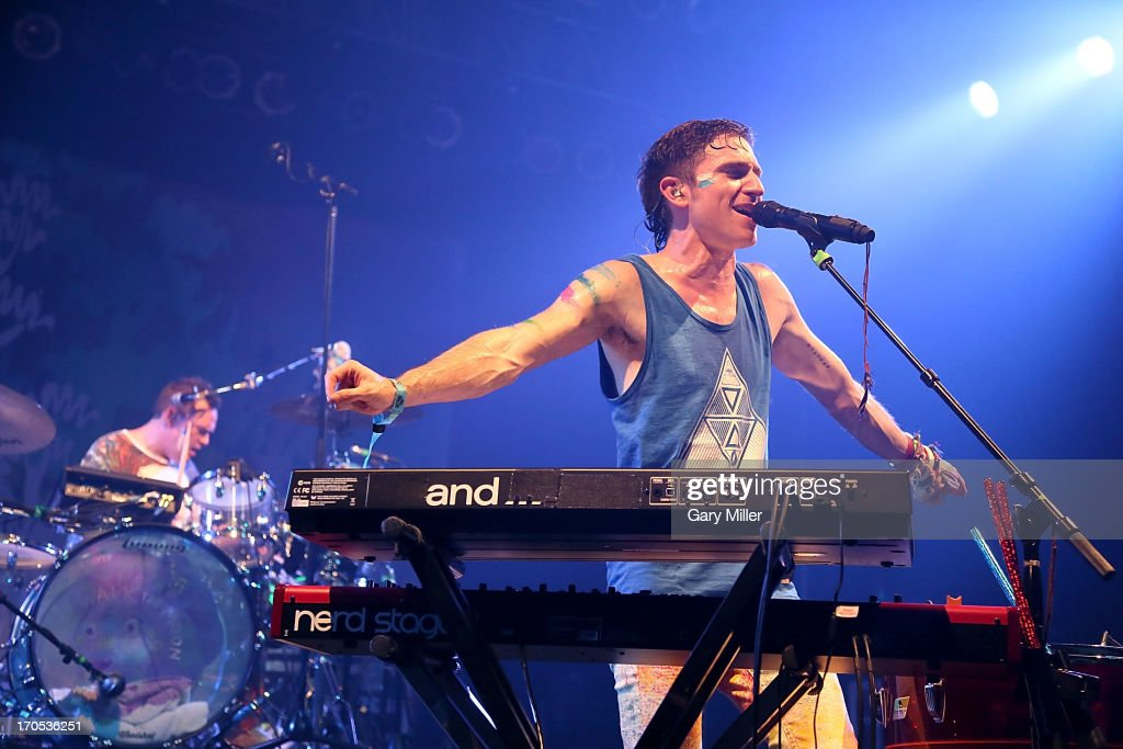 Nicholas Petricca of Walk The Moon performs during the 2013 Bonnaroo Music & Arts Festival on June 13, 2013 in Manchester, Tennessee.
