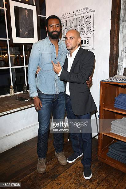Nicholas Pinnock and Fraser Ayres attend a private view of FH Faces a series of portraits by photographer Gary Wallis presented by Flying Horse...