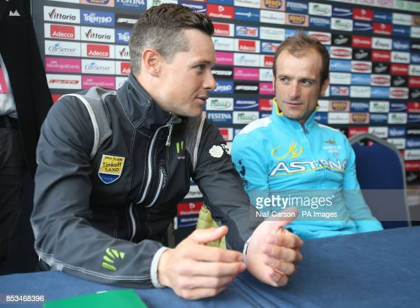 Nicholas Roche and Michelle Scarponi during a press conference at Belfast Waterfront Hall Belfast