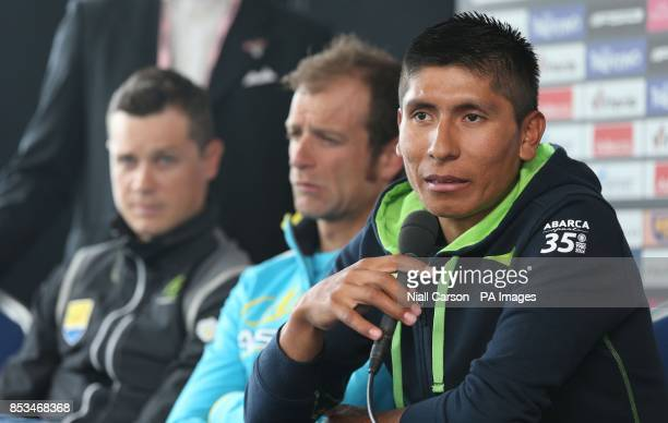 Nicholas Roche Michelle Scarponi and Nairo Quintana during a press conference at Belfast Waterfront Hall Belfast
