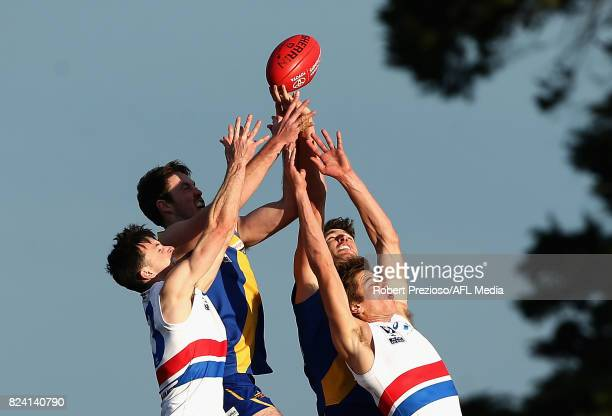 Nicholas Ryan of Footscray contests the ball during the round 15 VFL match between Williamstown and Footscray at Burbank Oval on July 29 2017 in...