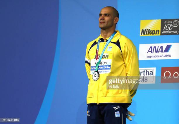 Nicholas Santos of Brazil celebrates his silver medel in the Men's 50m Butterfly Final on day eleven of the Budapest 2017 FINA World Championships on...