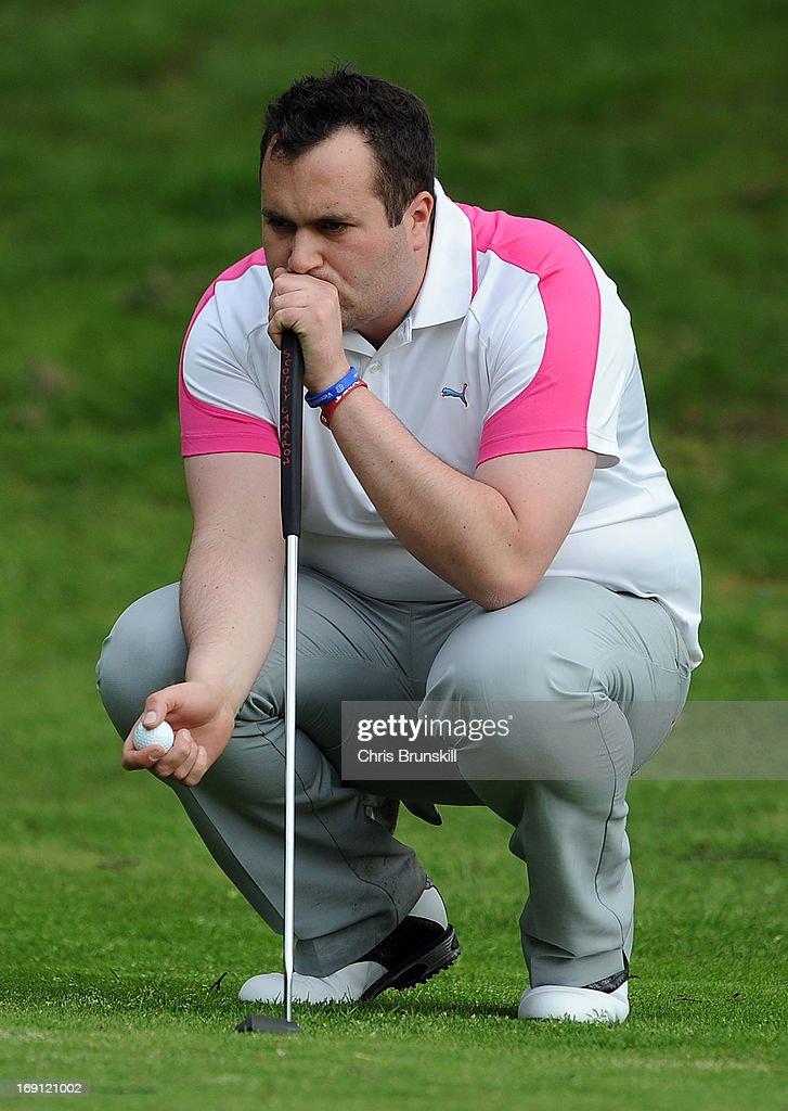 Nicholas Shepherd of Preston Golf Club lines up a putt during the Powerade PGA Assistants' Championship Regional Qualifier at Penwortham Golf Club on May 20, 2013 in Preston, England.