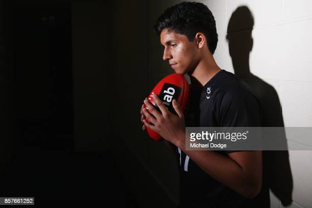 Nicholas Shipley of GWS Giants Academy poses during the AFL Draft Combine at Etihad Stadium on October 5 2017 in Melbourne Australia
