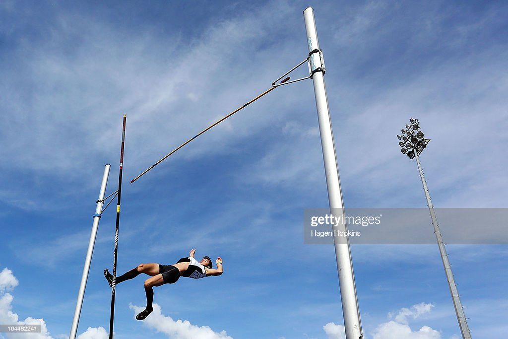 Nicholas Southgate of Auckland competes in the men's under 20 pole vault during the New Zealand Track and Field Championships at Mt Smart Stadium on March 24, 2013 in Auckland, New Zealand.