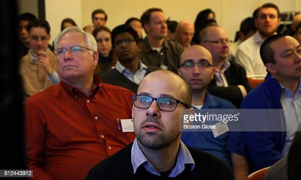 Nicholas Staropoli Associate Director of the Genetic Literacy Project watches a presentation during the CRISPR Congress at the Hyatt Regency Boston...