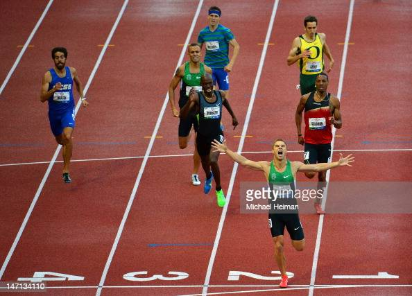 Nicholas Symmonds reacts after winning the men's 800 meter final in front of Khadevis Robinson and Duane Solomon Jr during Day Four of the 2012 US...