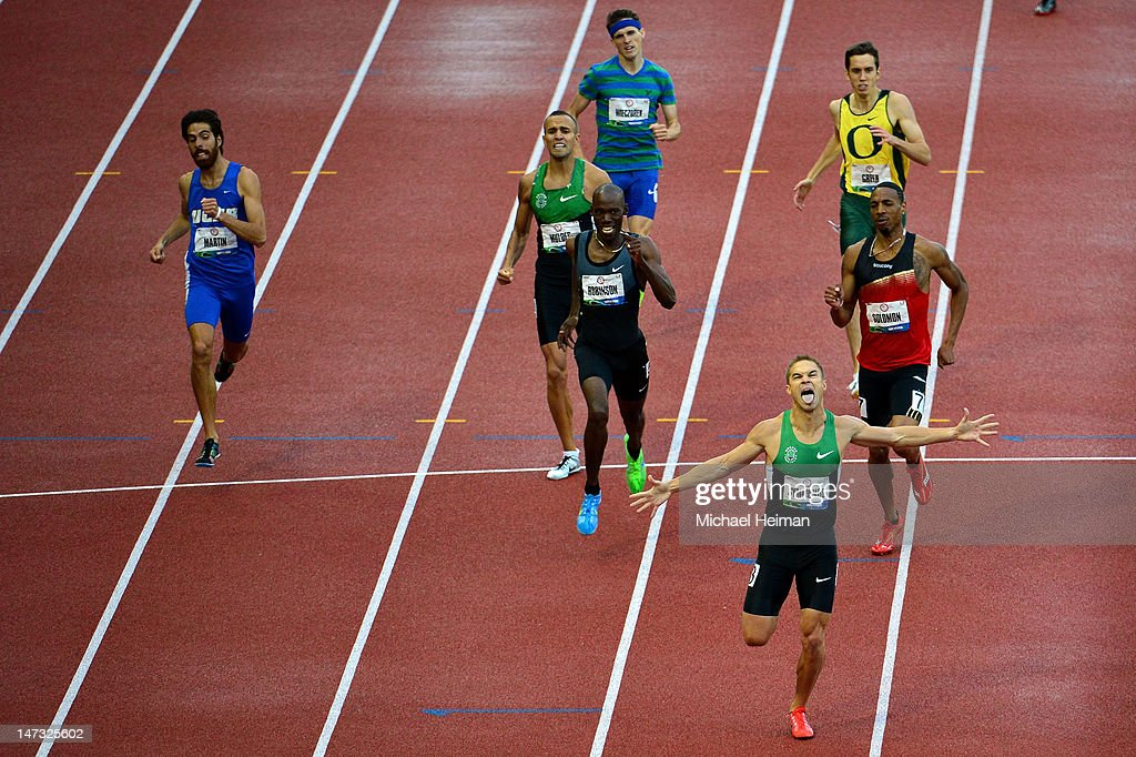 Nicholas Symmonds reacts after winning the men's 800 meter final in front of Khadevis Robinson and Duane Solomon Jr during Day Four of the 2012 U.S. Olympic Track & Field Team Trials at Hayward Field on June 25, 2012 in Eugene, Oregon.