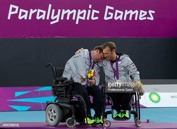 Nicholas Taylor of the United States and teammate David Wagner with their Gold Medals after the Quad Doubles Wheelchair Tennis Gold Medal match on...