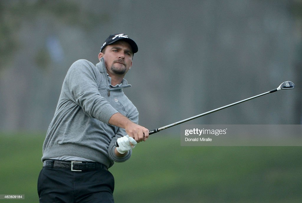 Nicholas Thompson hits off the 18th fairway during the First Round of the Farmers Insurance Open at Torrey Pines Golf Course on February 5, 2015 in La Jolla, California.