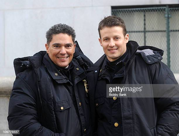 Nicholas Turturro and Will Estes filming on location for 'Blue Bloods' on the streets of Manhattan on March 4 2011 in New York City