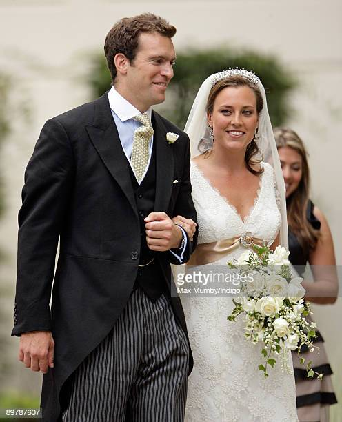 Nicholas van Cutsem and Alice HaddenPaton leave The Guards Chapel Wellington Barracks after their wedding on August 14 2009 in London England