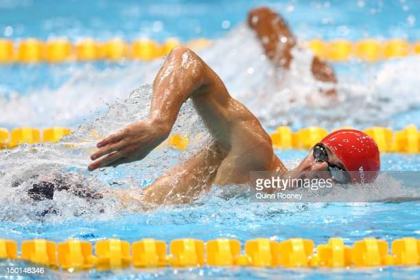 Nicholas Woodbridge of Great Britain competes in the Swimming 200m Freestyle event in the Men's Modern Pentathlon on Day 15 of the London 2012...
