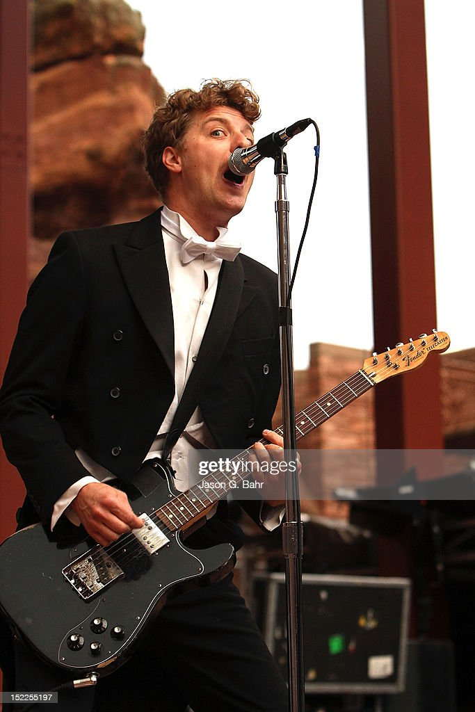 Nicholaus Arson (Niklas Almqvist) of The Hives performs at Red Rocks Amphitheatre on September 16, 2012 in Morrison, Colorado.