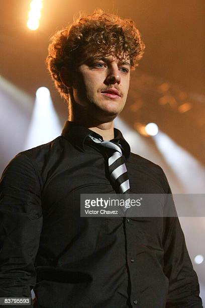 Nicholaus Arson of the Hives performs during Rockampeonato Telcel 2008 at the Palacio de Los Deportes on November 22 2008 in Mexico City Mexico