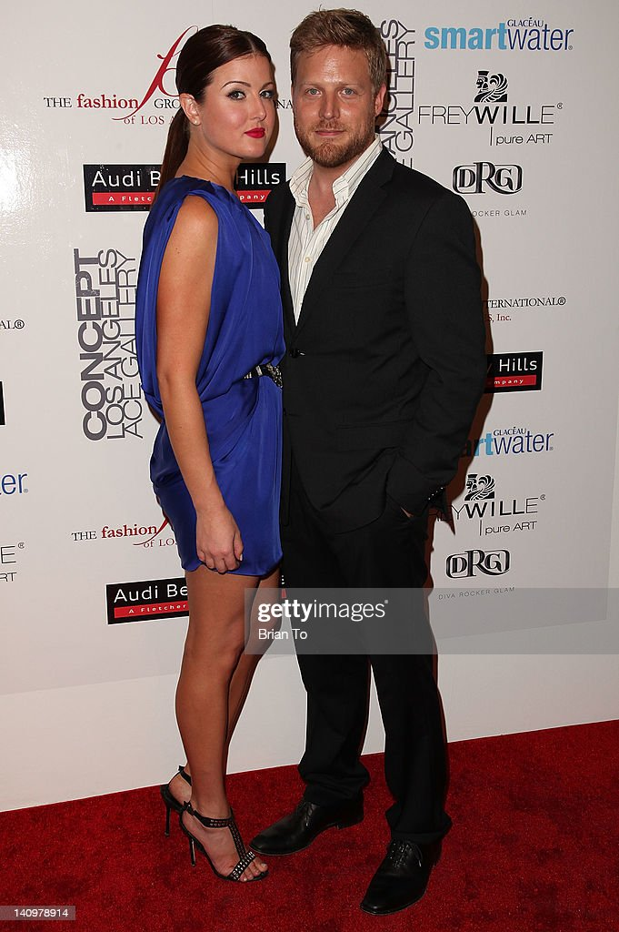Nichole Dwyer and Jason Stafford attend Fashion Group International's Meet the Designer & the Muse at Ace Gallery on March 8, 2012 in Los Angeles, California.