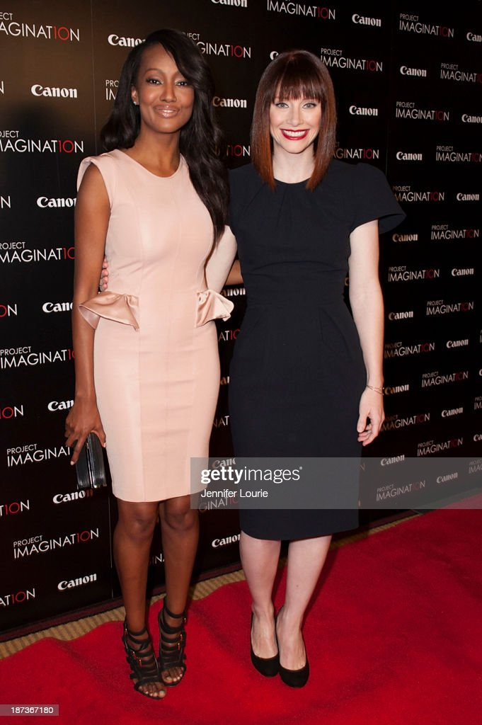 Nichole Galicia and <a gi-track='captionPersonalityLinkClicked' href=/galleries/search?phrase=Bryce+Dallas+Howard&family=editorial&specificpeople=156411 ng-click='$event.stopPropagation()'>Bryce Dallas Howard</a> attend the Los Angeles screening for Canon's 'Project Imaginat10n' film festival at Pacific Theatre at The Grove on November 7, 2013 in Los Angeles, California.