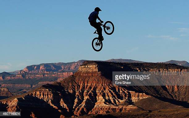 Nicholi Rogatkin goes over a jump during a practice session for the Red Bull Rampage on October 15 2015 in Virgin Utah The Red Bull Rampage is an...