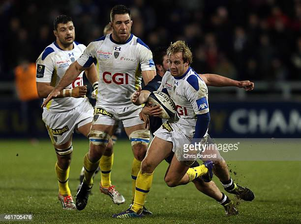 Nick Abendanon of ASM Clermont Auvergne in action during the European Rugby Champions Cup match between Sale Sharks and ASM Clermont Auvergne at the...