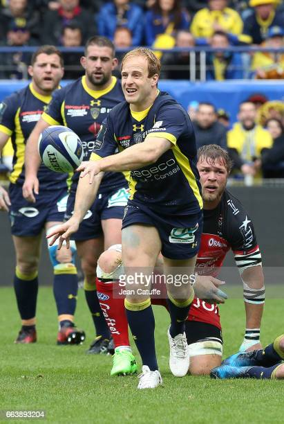 Nick Abendanon of ASM Clermont in action during the European Rugby Champions Cup quarter final match between ASM Clermont Auvergne and Racing Club...
