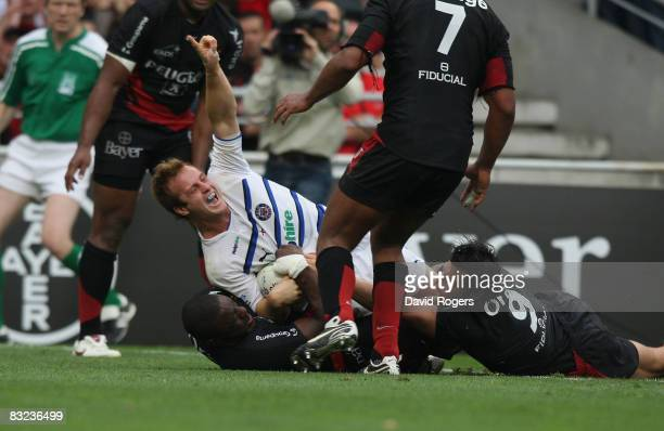 Nick Abendanon of Bath celebrates after scoring a late try during the Heineken Cup match between Toulouse and Bath at Stade Toulousain on October 12...