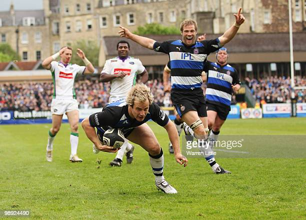 Nick Abendanon of Bath dives over to score a try during the Guinness Premiership match between Bath and Leeds Carnegie on May 8 2010 in Bath England