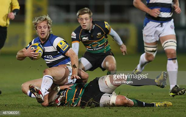Nick Abendanon of Bath is tackled during the Aviva A League Final between Northampton Saints and Bath at Franklin's Gardens on December 16 2013 in...