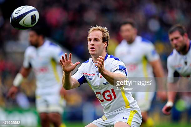 Nick Abendanon of Clermont receives the ball during the European Rugby Champions Cup Final match between ASM Clermont Auvergne and RC Toulon at...