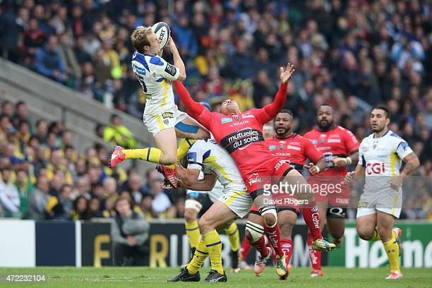 Nick Abendanon of Clermont takes a high ball during the European Rugby Champions Cup Final match between ASM Clermont Auvergne and RC Toulon at...