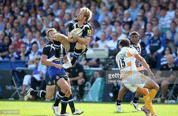 Nick Abendanon the Bath fullback catches the high ball during the Aviva Premiership match between Bath and London Wasps at the Recreation Ground on...