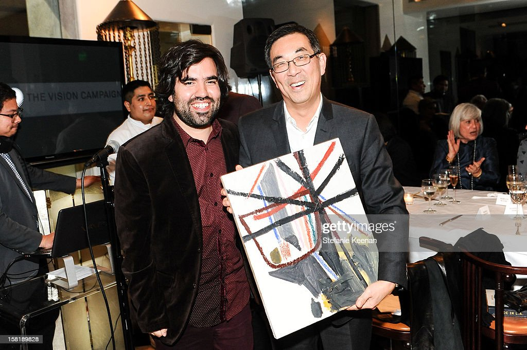 Nick Aguayo and John Yoon attend LAXART Vision dinner At Mr. Chow sponsored by Jay Carlile and Guess at Mr. Chow on December 10, 2012 in Los Angeles, California.