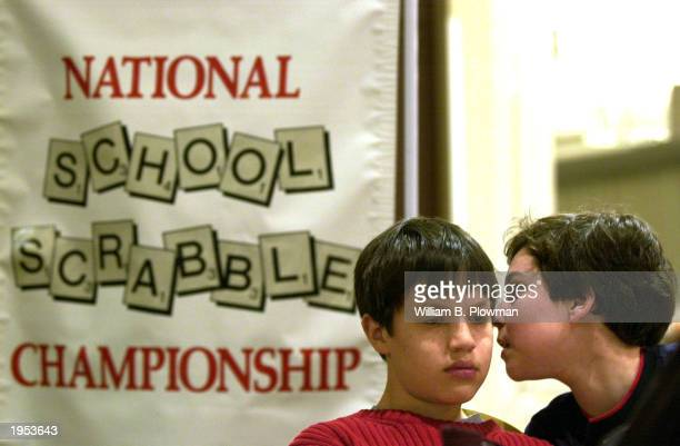 Nick Amphlett and John Ezekowitz both 12yearsold plan moves as they participate in the opening rounds of the National School Scrabble Championship...