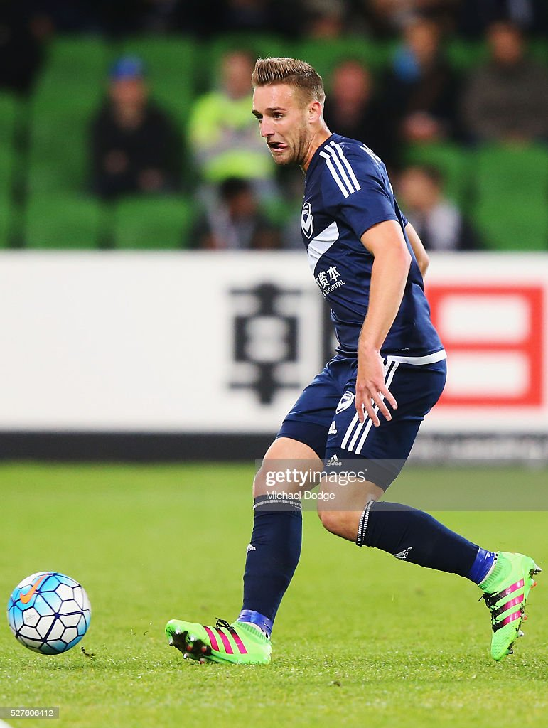 Nick Ansell of the Victory kicks the ball during the AFC Champions League match between Melbourne Victory and Gamba Osaka at AAMI Park on May 3, 2016 in Melbourne, Australia.