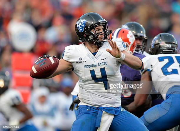 Nick Arbuckle of the Georgia State Panthers drops back for a pass during the game at Memorial Stadium on November 22 2014 in Clemson South Carolina