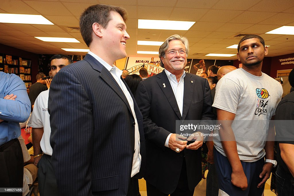 Nick Arison, Miami Heat CEO and Micky Arison, Miami Heat Managing General Partner attend the unveiling of the NBA Cares Learn and Play Center at the Miami Springs Community Center presented by HP and State Farm on June 18, 2012 in MIami, Florida.