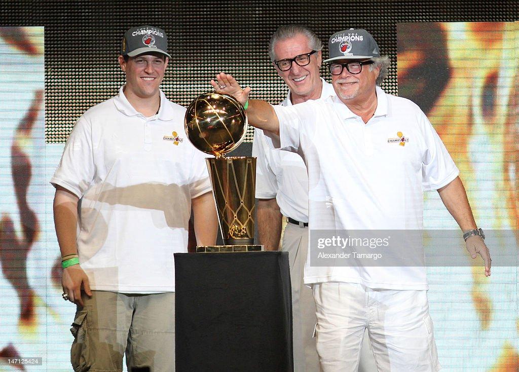 Nick Arison, Pat Riley and Mickey Arison participate in Miami Heat 2012 NBA Championship Celebration at AmericanAirlines Arena on June 25, 2012 in Miami, Florida.