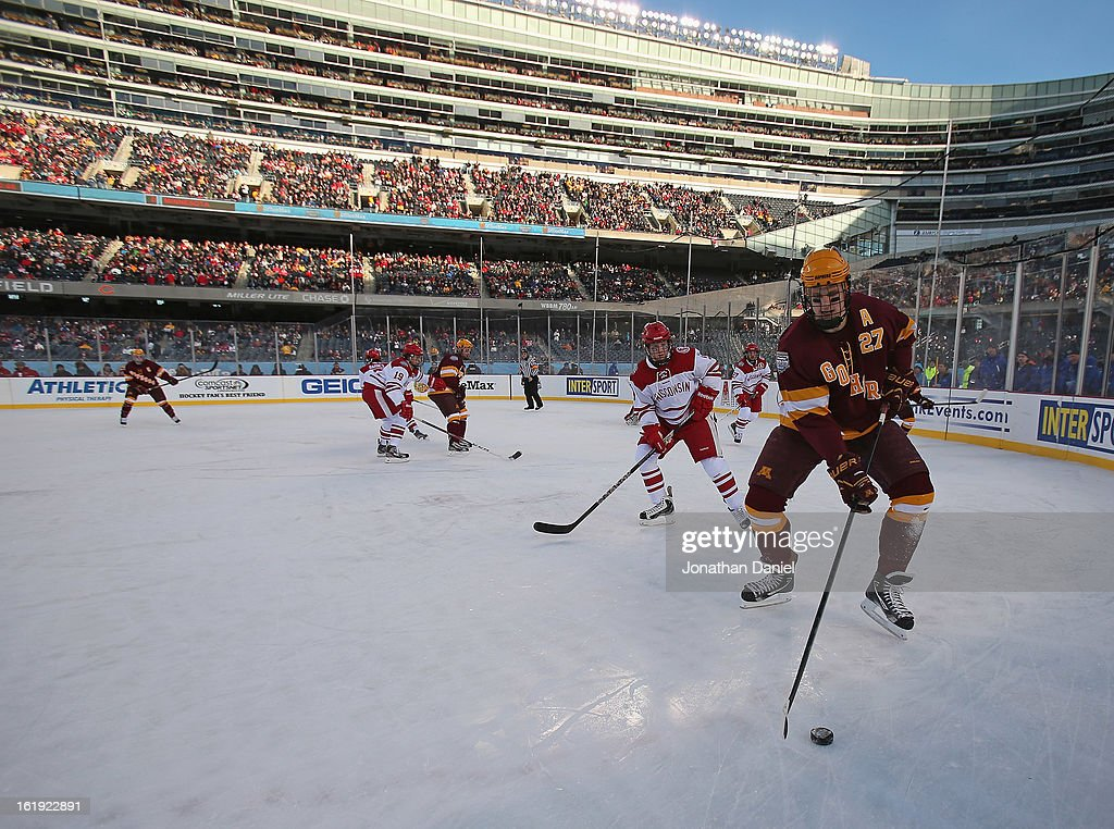 Nick Bjugstad #27 of the Minnesota Golden Gophers controls the puck against the Wisconsin Badgers during the Hockey City Classic at Soldier Field on February 17, 2013 in Chicago, Illinois.
