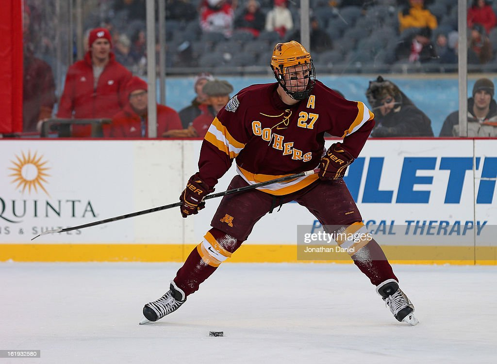 Nick Bjugstad #27 of the Minnesota Golden Gophers shoots the puck against the Wisconsin Badgers during the Hockey City Classic at Soldier Field on February 17, 2013 in Chicago, Illinois.