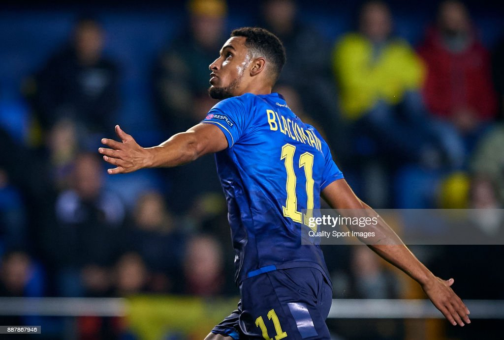 Nick Blackman of Maccabi Tel Aviv celebrates after scoring a goal during the UEFA Europa League group A match between Villarreal CF and Maccabi Tel Aviv at Estadio De la Ceramica on December 7, 2017 in Villarreal, Spain.