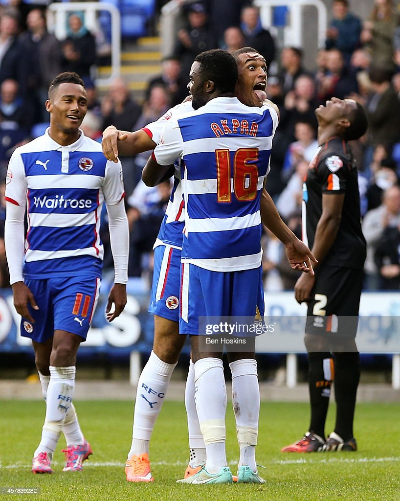 Nick Blackman of Reading celebrates after scoring his team's third goal of the game during the Sky Bet Championship match between Reading and...